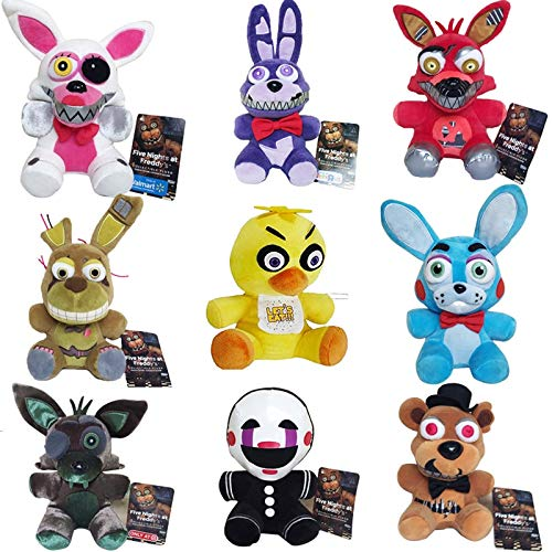 Panamat Movies & TV - 9pcs/lot 18cm Five Nights at Freddy's 4 FNAF Freddy Fazbear Foxy Bonnie Chica Clown Plush Toys Doll Soft Stuffed Toys Kids Gifts 1 PCs -