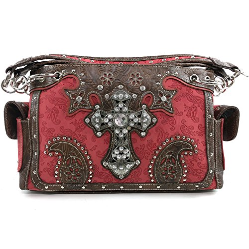 Justin West Paisley Embroidery Floral Tooled Leather Rhinestone Cross Shoulder Concealed Carry Handbag Purse (Red - Red Justin