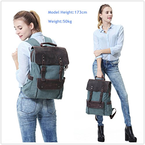 Vaschy Vintage Leather Backpack for Women and Men Canvas Ergonomic Rucksack Bookbag Daypack fits 15.6 inch Laptop