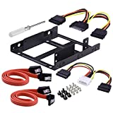 ESHOWEE 2x 2.5 Inch SSD to 3.5 Inch Internal Hard Disk Drive Mounting Kit Bracket(SATA Data Cables and Power Cables included)