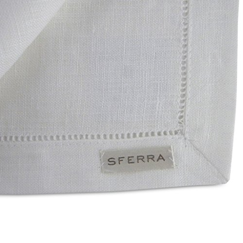 Sferra Festival Linen Hemstitched Placemats - White by Sferra