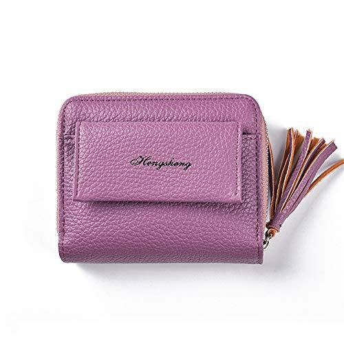 Lovely rabbit Femmes Petit Sac à Main Courte Pliante Clip d'argent Tassel PU Portefeuille en Cuir (Color : Gray) Purple