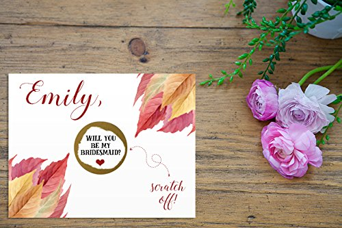 Leaves Invitation Wedding Fall (PERSONALIZED Scratch Off Bronze Fall Leaves Will you be my: Maid of Honor, Matron of Honor, Bridesmaid Ask Card with Metallic Envelope. Will you be my bridesmaid? Card)