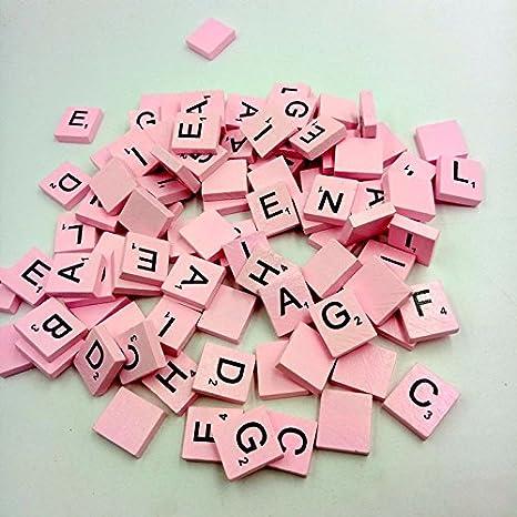 Webla - Letra de madera cuadrada fija estándar mixta amarilla 100 Scrabble de madera con letras negras para manualidades, madera y alfabetos, rosa: Amazon.es: Bricolaje y herramientas
