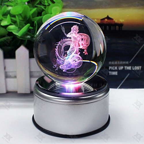 Laser Engraved Crystal (3D K9 Inspired Laser Engraved Crystal Ball LED Night Light Lamp Lighting With Rotating base Flashing Colored (Son Goku))