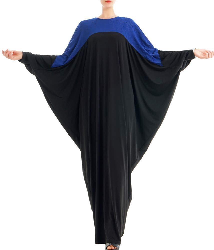 YI HENG MEI Women's Muslim Islamic Casual Loose O-Neck Batwing Sleeve Maxi Dress Abaya,Sapphire,Tag L Length 57 inch
