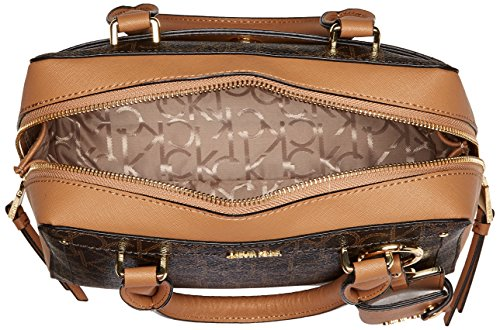 Boxy Satchel Khaki Monogram Calvin Klein Brown qwx5vzPp7