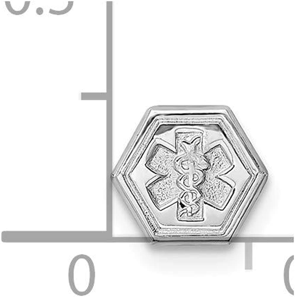 Sterling Silver Non-Enameled Attachable Emblem Medical Charm on a Sterling Silver Box Necklace 18