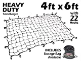 4ft x 6ft PowerTye Mfg Heavy-Duty 5mm Bungee Elastic Cargo Net | Stretches to 72'' x 96'' | Includes 22 Large Hooks, Black w/Bag