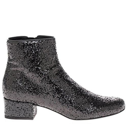 Saint Laurent Women's Glitter Almond-Toe Ankle Boots w/ Short Block Heel Leather Black EU 39 (US 9)