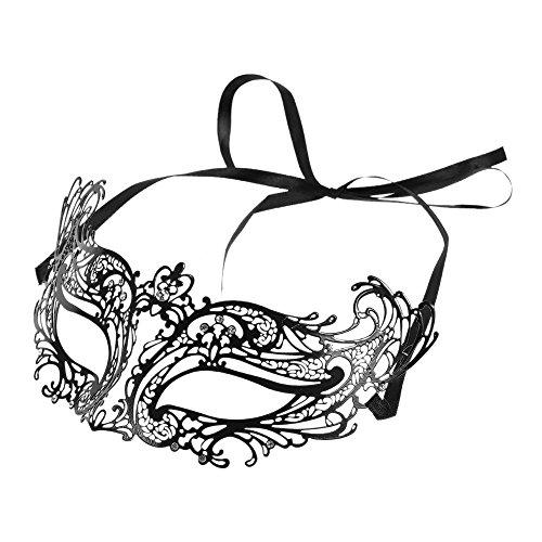 FEST NIGHT Cosplay Black Metal Half Mask with Rhinestones Masquerade Ball Halloween Cosplay Mask Fancy (Sparty Costume Halloween)