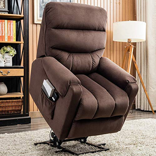 CANMOV Electric Power Lift Recliner Chair Comfortable Antiskid Fabric for Elderly with Remote Control, Heavy Duty Reclining Mechanism Living Room Sofa Chair, Dark Brown