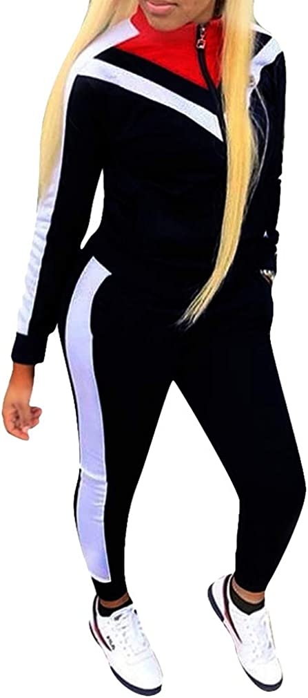 Ensemble Deux Pi/èces Femme Manches Longues Rayures Sweat /À Capuche Pantalon Sports Costumes Gym Yoga Jogging Surv/êtement