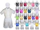 Baby Kid Toddler Boy Party Suit WHITE Shorts Shirt Hat Necktie Vest set Sm-4T (3T, Red)