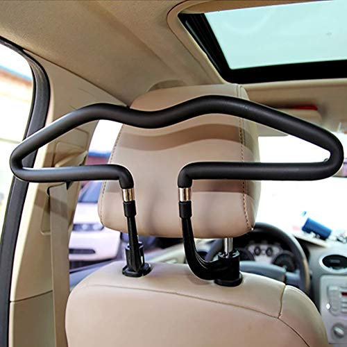 daffodilblob Car Coat Hanger, Auto Seat Headrest Back Clothes Coat Suit Hanger Vehicle Faux Leather Holder Space Saving Anti-Rust for Most Vehicle Car Black