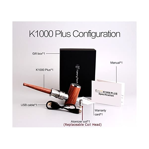Kamry K1000 Plus 30W Classical E Pipe, Rechargeable 1000mah, E Cigarette Starter Kit Airflow Adjustable, Refillable Atomizer Tank with Micro USB Charger, E Pipes Vapor Gift Package, No Nicotine