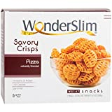 WonderSlim High Protein Savory Crisps - Pizza (10 Servings) - Low Fat, Gluten Free, Sugar Free, Cholesterol Free
