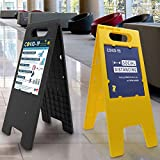 Headline Sign - Customizable Floor Tent Sign, Blank with 2 Double-Sided Inserts and 2 Protective Covers, Yellow, 10.5 x 25 Inches
