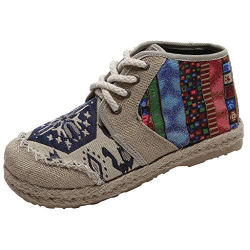 Goddessvan Women's Folk-Custom High Platform Shoes Linen Retro Student Lace-Up Casual Plus Size Shoes Blue