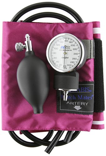 (MABIS MatchMates Aneroid Sphygmomanometer Manual Blood Pressure Monitor Kit with Calibrated Nylon Cuff and Carrying Case, Professional Quality, Magenta)