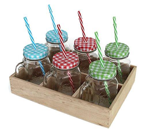 BADA BING 6er Set Trinkglas mit Karo Deckel Strohhalm und Holz Tablett + Trennkost