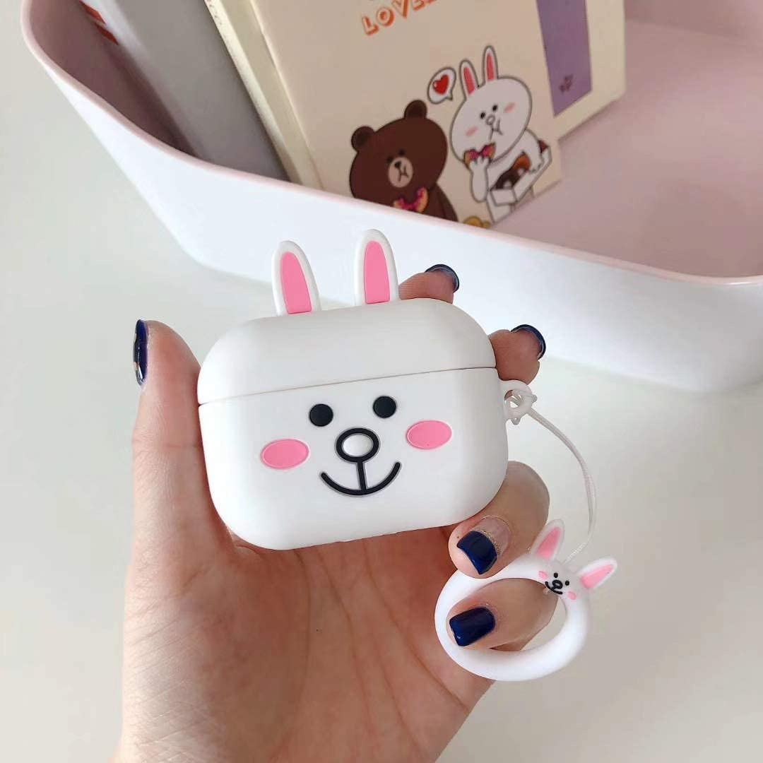 2019 Release 3D Cute Animal Design of Silicone AirPods Pro Charging Case Compatible with AirPods Pro Brown Bear LKDEPO Cartoon Airpods Pro Case with Keychain