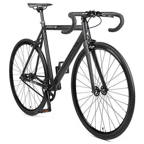Retrospec by Westridge Bicycles Drome Fixed-Gear Track Bike with Carbon Fork, Matte Black, 49cm/X-Small