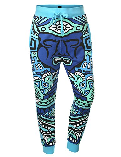 URBANCREWS Mens Hipster Hip Hop Neon Totem Character Sweatpants BLUE MEDIUM