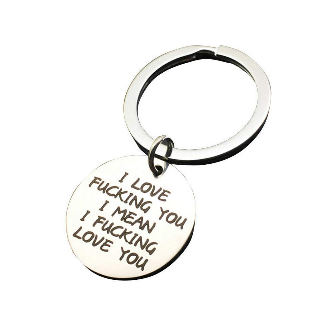 Gift for Boyfriend Girlfriend Husband Wife Stainless Steel Keyring I Love Fucking You I Mean I Fucking Love You Dog Tag Key Chain for Couple Lover (25mm)