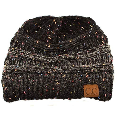 CC Confetti Ombre Warm Chunky Soft Stretch Knit Slouch Beanie Skull Cap Hat Black