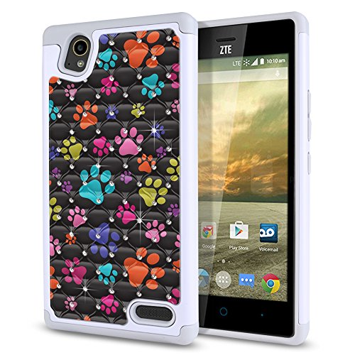 Elite Phone Covers - ZTE Warp Elite Z9518 Case, Fincibo (TM) Dual Layer Shock Proof Hybrid Hard Protector Cover Anti-Drop Silicone Star Studded Rhinestone Bling, Multicolor Dog Paws