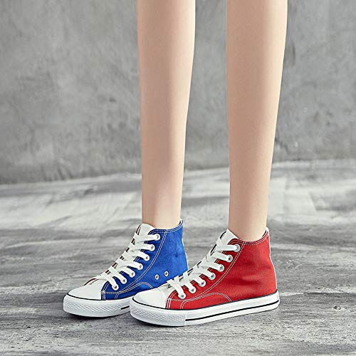 Con Ayuda De Bts Fashion Personalidad Patchwork Canvas Zapatos Red12 Popular Alta Cordones 6wqwaH