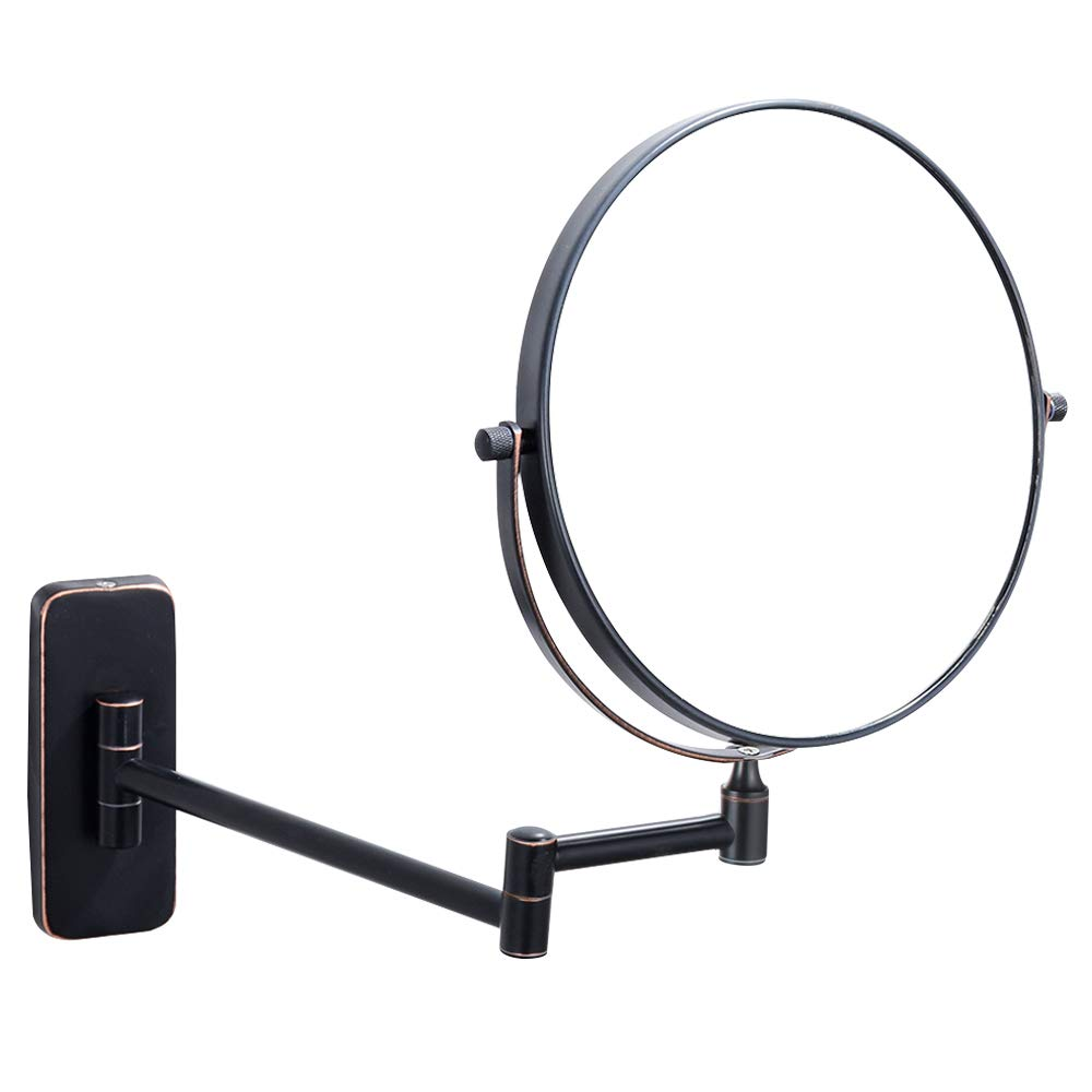 NiceVue Thanksgiving Friday Black Makeup Mirrors For Wall 8 Inch, Double-Sided 10x Magnifying Mirror Mounted, Oil Rubbed Bronze (8 Inch, 10X)