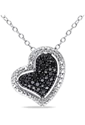 Sterling Silver Black Accent Diamond Heart Pendant (0.1 Cttw) 18''