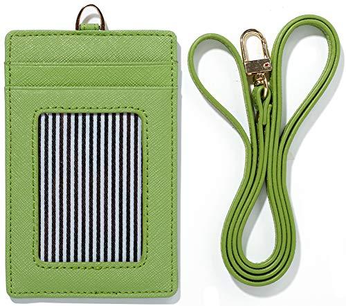 (Lanyard Wallet Women Genuine Leather ID Badge Holder Girls Neck Window Card Business Strap Purse Case (Green))