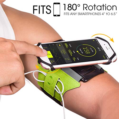 VUP Armband for iPhone X 8 8 Plus 7 Plus 6s Plus 6 Plus, LG G6 G5, Galaxy s8 s7 s6 Edge, Google Pixel, 180 Rotatable Phone Armband for Running Hiking Biking with Key Holder(Green)