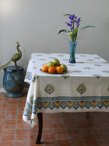 Dance O Peacock ~ Ivory Peacock Feather Print Elegant Tablecloth 70x120 by Saffron Marigold