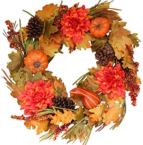 Oakwood Silk Fall Door Wreath 22 Inches - Autumn Colors Enhance Home Decor, Approved for Covered Outdoor Use, Beautiful White Gift Box (Fall Door Wreaths)
