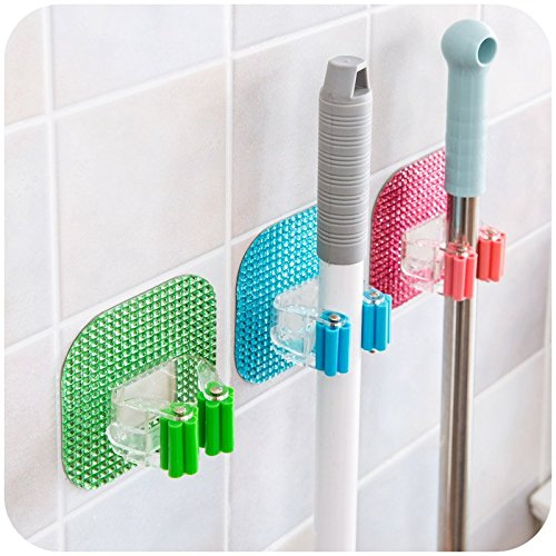 Tmarton 6 PCS Plastic Crystal Removable Wall Adhesive Mop Broom Holders Bathroom Kitchen Sundries Organizer Suction Cup Hanger Rack (Adhesive Mop And Broom Holder compare prices)