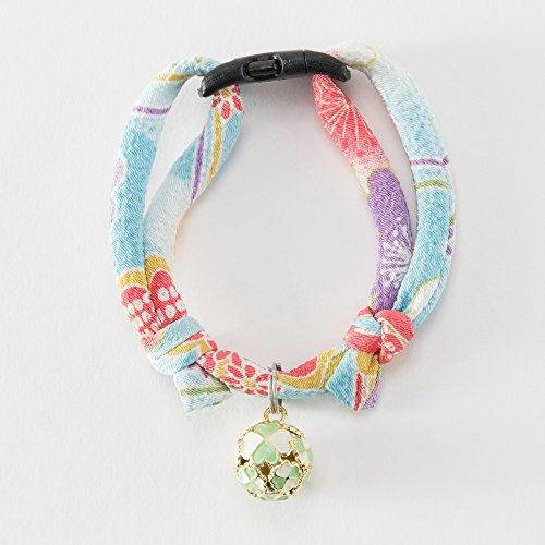 Chirimen Cat Collar with Clover Bell (Baby Blue)