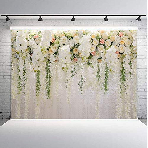 Art Studio 3D White Rose Floral Photography Backdrops Bridal Shower Wedding Flowers Wall Decoration Photo Background Studio Props Booth Vinyl 7X5ft
