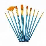 Paint Brush Art Set Nylon Hair Brush Set for Acrylic Oil Watercolor Gouache 10Pieces