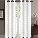 Pair of Two Top Grommet Blackout Jacquard Curtain Panels, Triple-Pass Foam Back Layer, Elegant and Contemporary Willow Blackout Panels, White, Set of Two 42″ by 108″ Panels (84″ by 108″ Pair)
