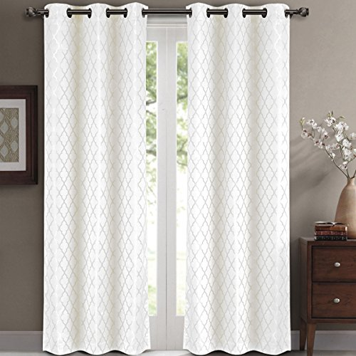 Pair of Two Top Grommet Blackout Jacquard Curtain Panels, Triple-Pass Foam Back Layer, Elegant and Contemporary Willow Blackout Panels, White, Set of Two 42' by 84' Panels (84' by 84' Pair)