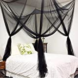 RuiHome Elegant 4 Corner Poster Bed Canopy Twin Full Queen Size Netting Black Netting Teen Children Room Nursery Decor