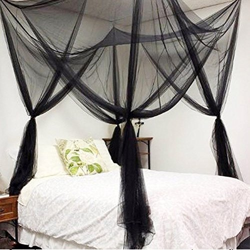 RuiHome Elegant 4 Corner Poster Bed Canopy Twin Full Queen Size Netting Black Netting Teen Children Room Nursery Decor by RuiHome