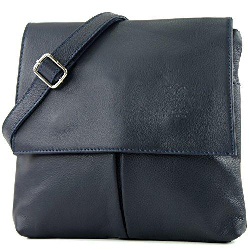 satchel T63 women's messenger leather Dark bag bag real Blue shoulder Italian bag gwqtzWXI