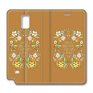 Brain114 Fashion Style Case Design Flip Folio PU Leather Cover Standup Cover Case with Smile Flowers Pattern Skin for Samsung Galaxy Note 4