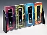 Displays2go 4'' x 9'' Brochure Holder for Tabletop Use, 4-Pocket, Black Acrylic (TRS4)