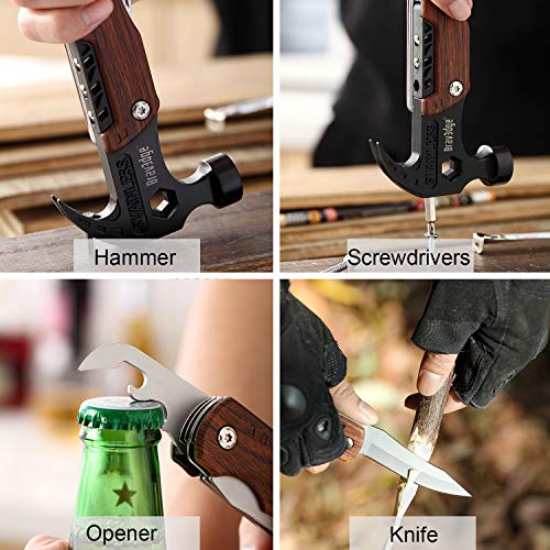 Multitool Hammer, 12 in 1 Camping Multitool Safety Lock with Claw Hammer, 3\'\' Knife, Wrench, Opener, Screwdriver, Nylon Belt Pouch, Ideal for Camping, Hiking, Survival, Outdoor, Indoor, DIY Repairing